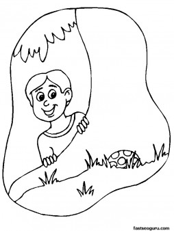 Printable happy Easter boy hunting for eggs coloring pages
