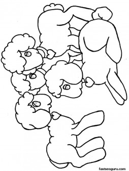 Printable happy Easter Lambs coloring pages