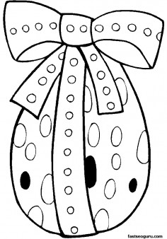 Printable Standing Easter Egg decorate Coloring Page