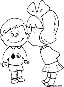 Printable Valentines Day Girl kissing boy coloring pages