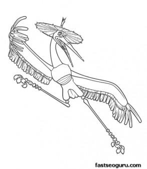 Printable Kung Fu Panda Master Crane coloring pages