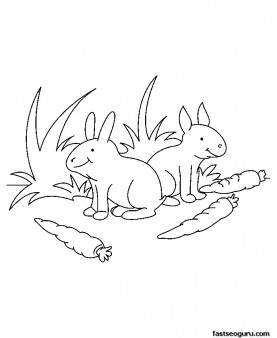 Printable Farm Animal Baby rabbit Coloring page for kids