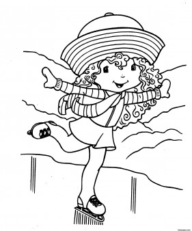 Printable cartoon Strawberry Shortcake on skating coloring pages for girls