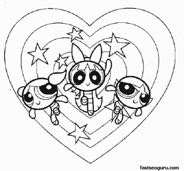 Printable Powerpuff Girls in action Bubbles Blossom Buttercup coloring pages.