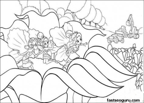 Printable barbie thumbelina Chrysella,Janessa coloring pages