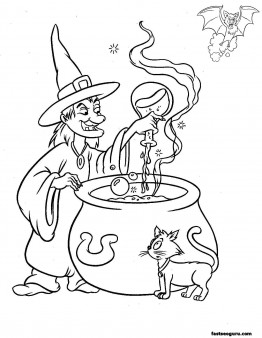 Halloween Witches Make Magic Drink Printable Coloring