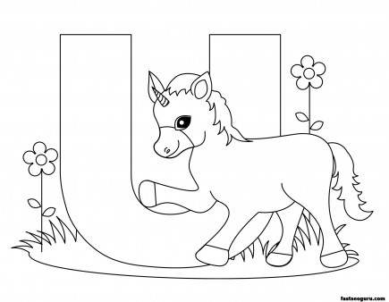 Printable Animal Alphabet worksheets Letter U is for Unicorn