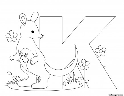 Printable Animal Alphabet worksheetsLetter K for Kangaroo