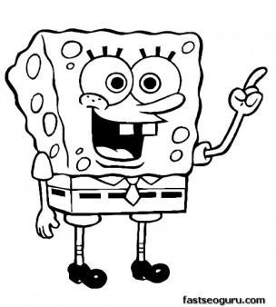 Printable Cartoon Happy SpongeBob Coloring Pages