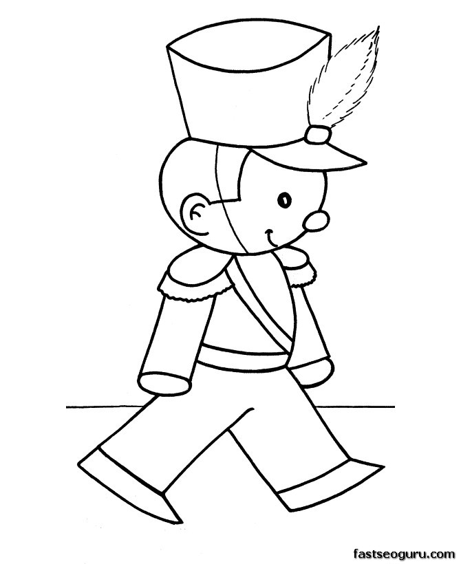 Free Christmas Coloring Pages toy soldier Printable