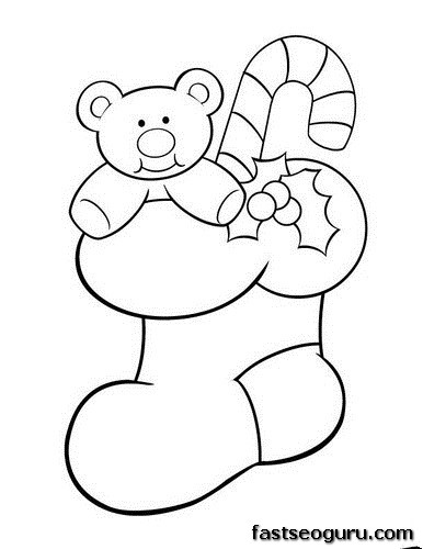 Christmas Stocking with teddy bear and candy canes coloring pages