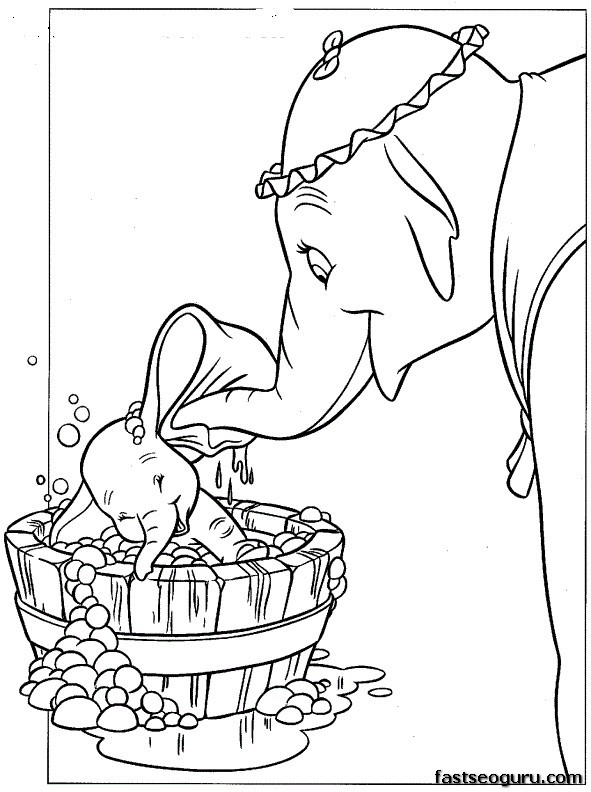 Coloring pages disney characters dumbo and mrs jumbo for Jumbo coloring pages