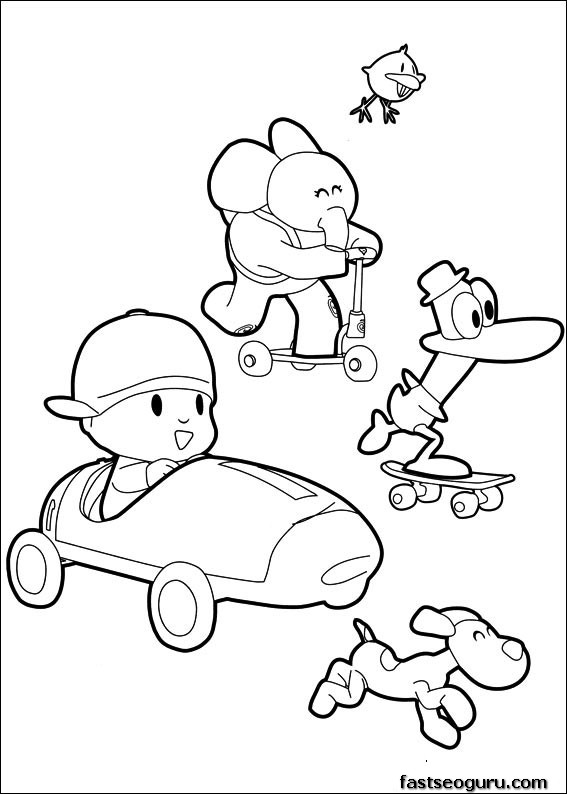 Coloring pages print out Pocoyo Pato and Elly has race