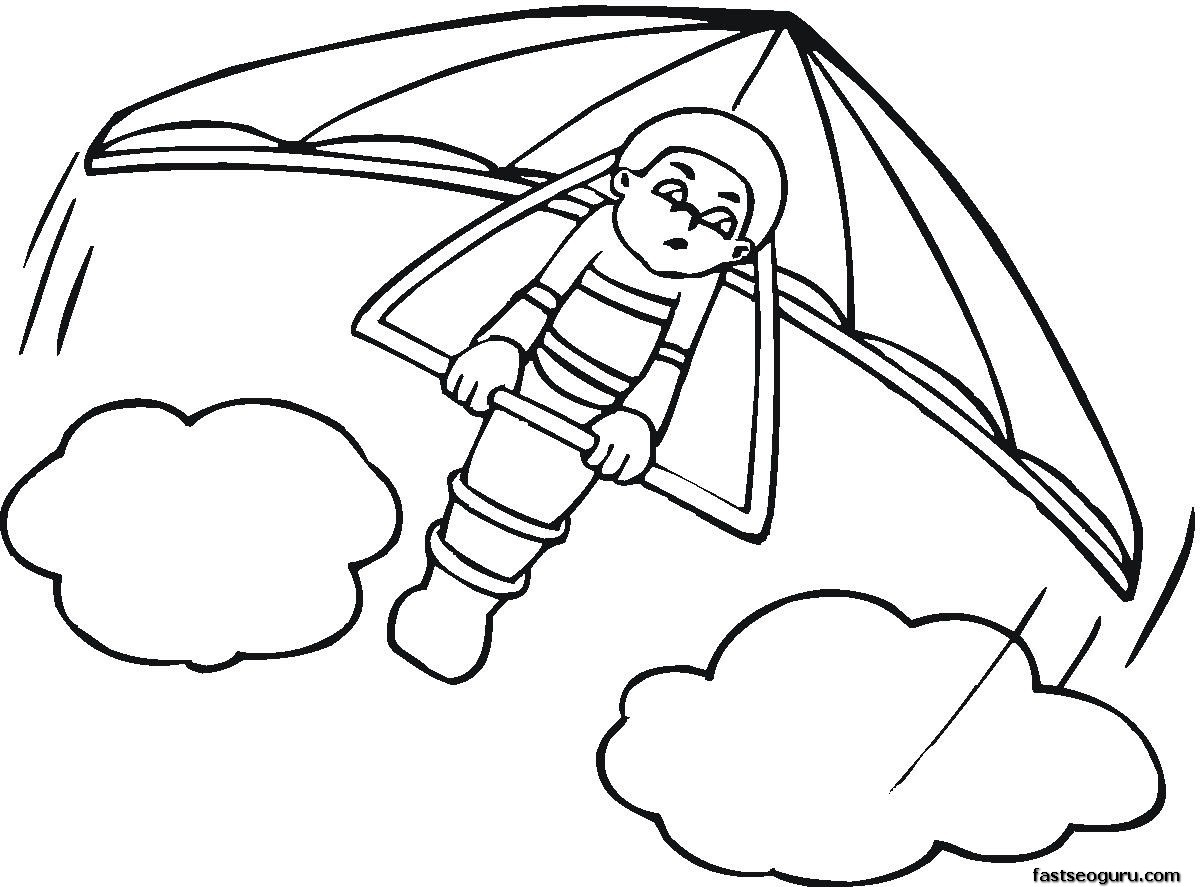 Kids coloring pages hang glider