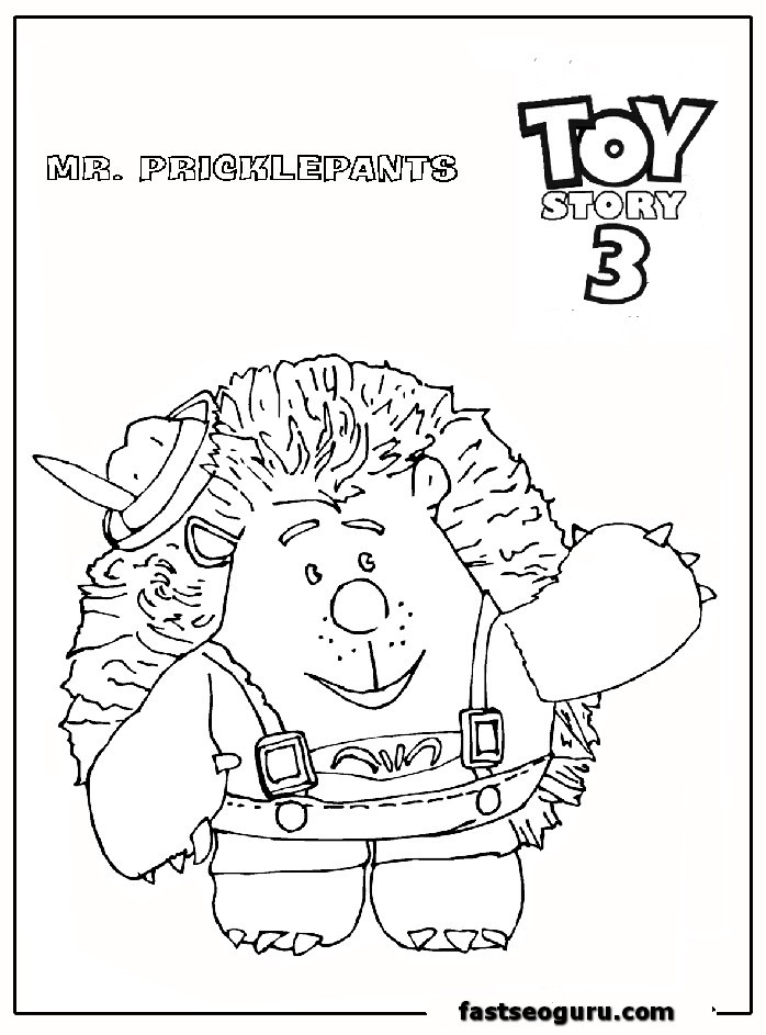 Mr Pricklepants Toy Story 3 Coloring Pages For Print Out Story 3 Colouring Pages