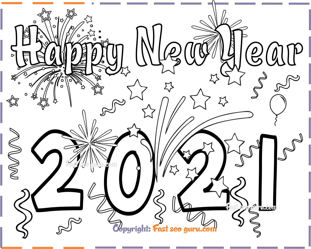 New Years 2021 coloring page for kids
