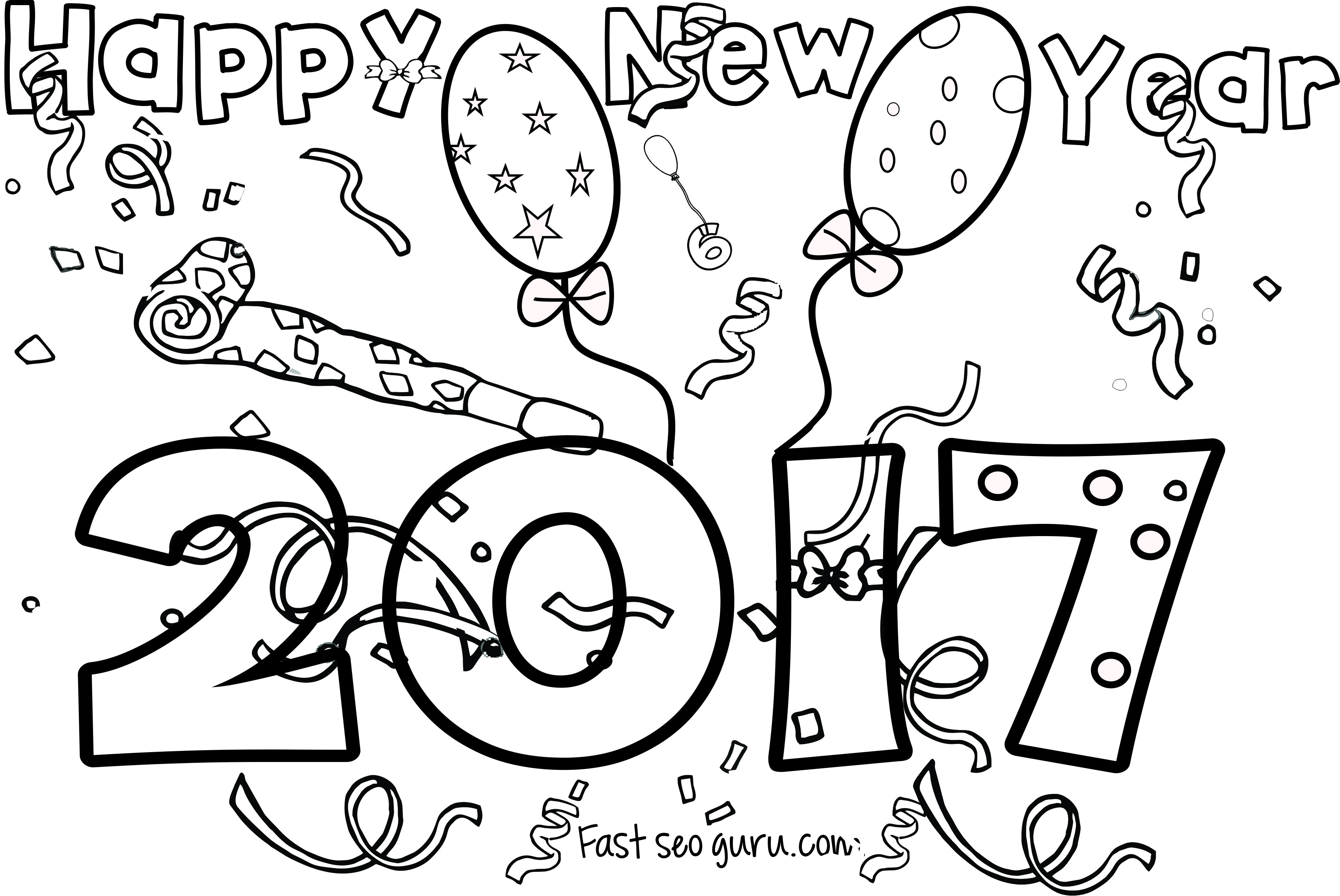 New Years 2017 Coloring Page For Kids New Year Coloring Pages