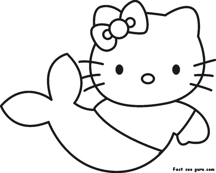 Prin Out Hello Kitty Little Mermaid Coloring In Page