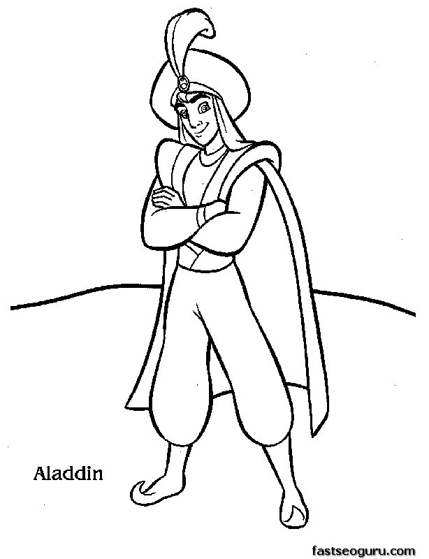 Coloring Pages To Print Out Disney : Print out disney characters aladdin coloring page
