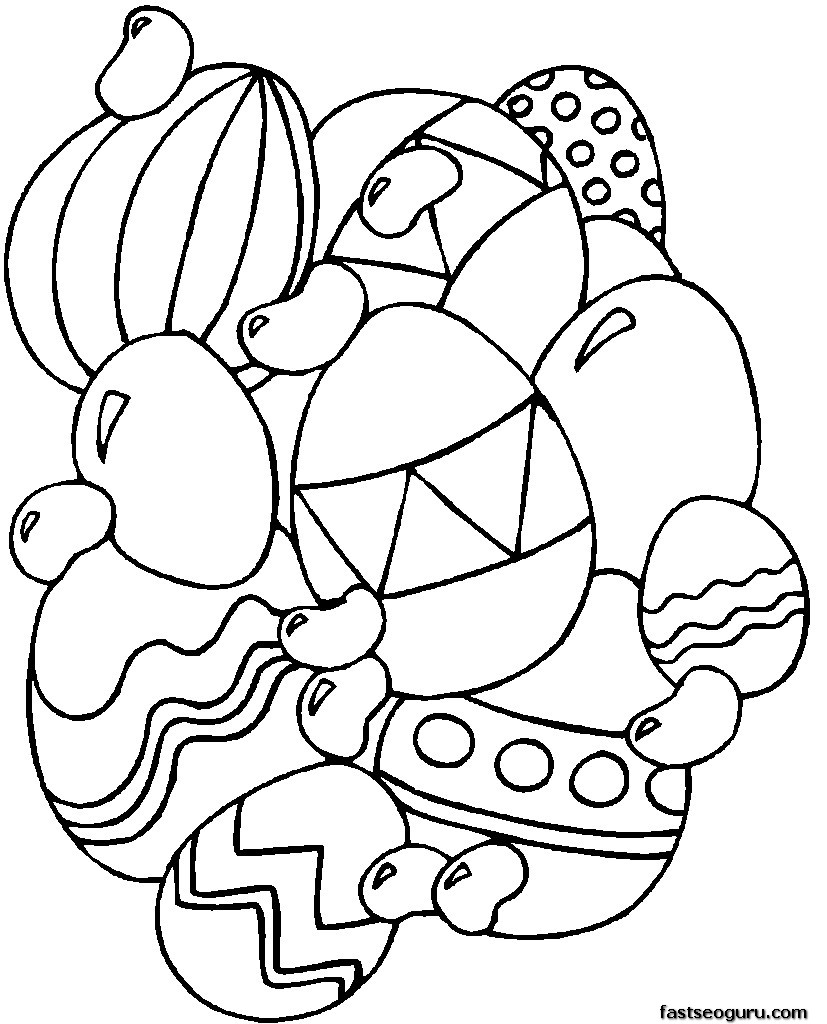Print Out Easter Eggs Coloring Page For Kids Printable
