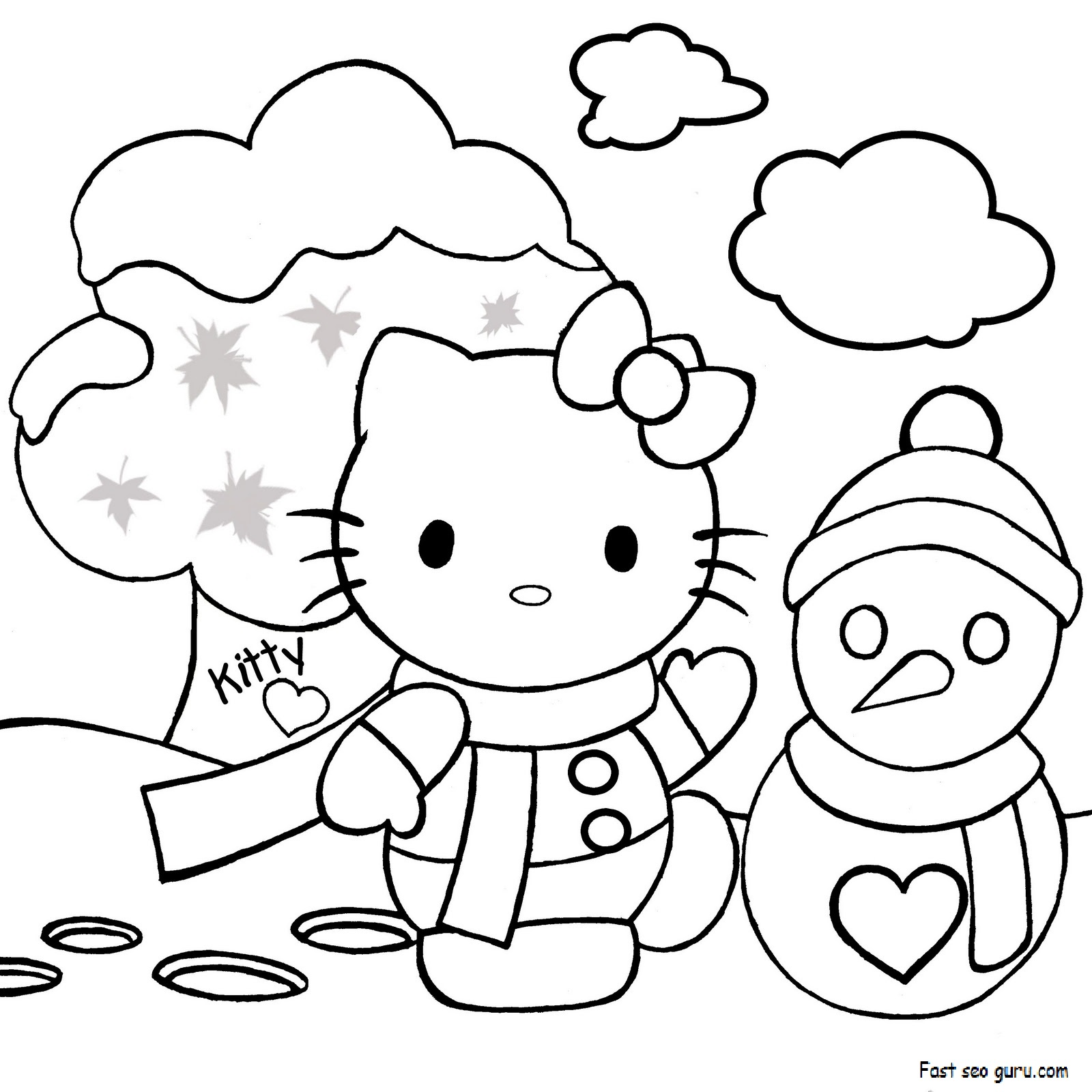 Hello Kitty Merry Christmas Coloring Pages : Print out merry christmas hello kitty coloring pages