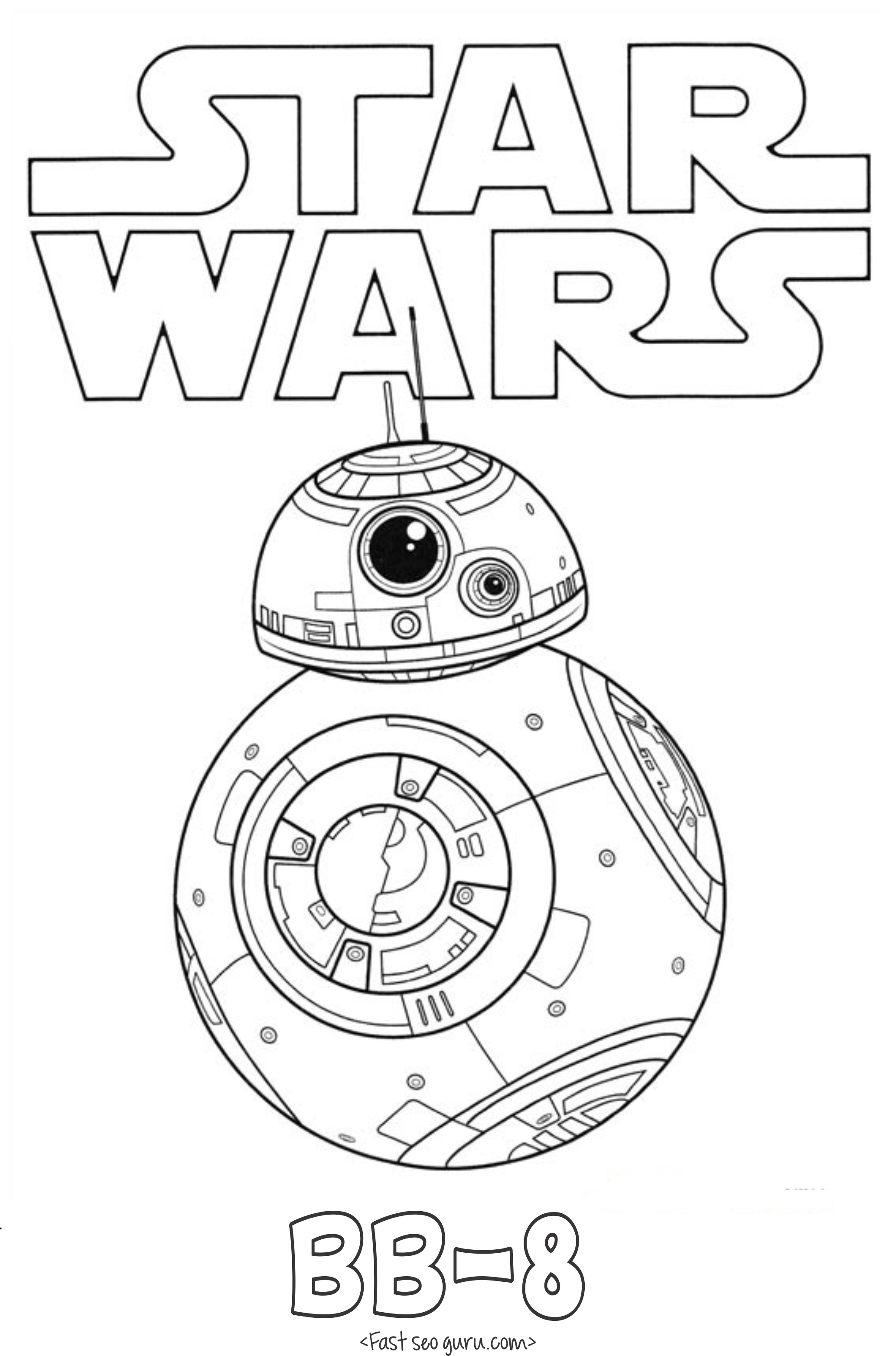 Kleurplaten Star Wars The Force Awakens.Star Wars The Force Awakens Bb 8 Coloring Pages