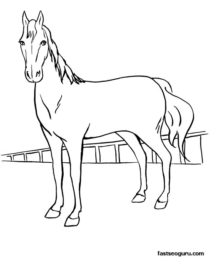 Print Out Coloring Pages Race Horses For Kids Printable