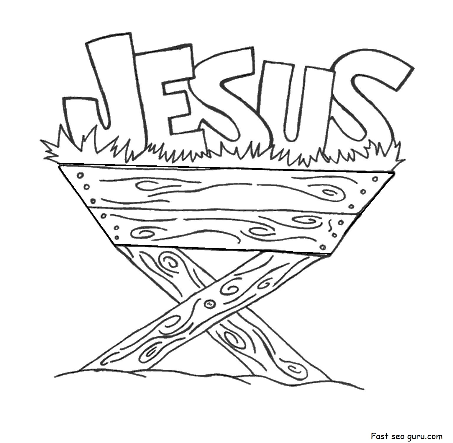 Jesus In The Manger Coloring Pages Printable For Kids