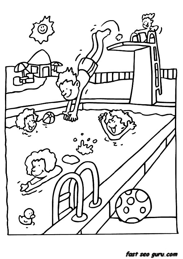 Print Out Summer Children In Pool Coloring Pages