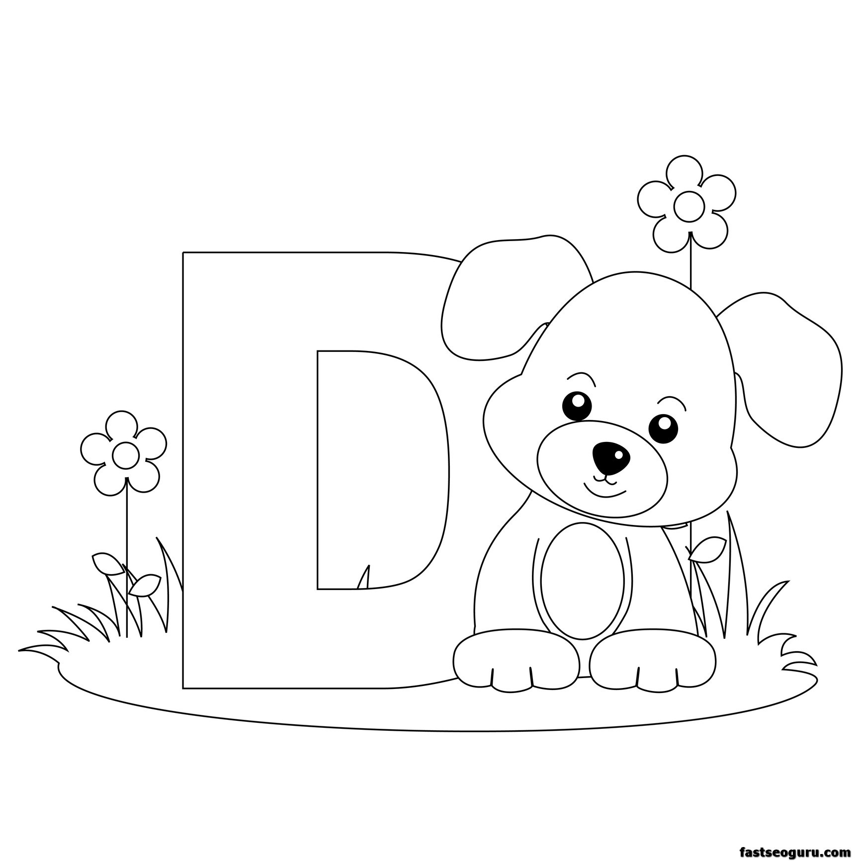 d for dog coloring pages - photo #29