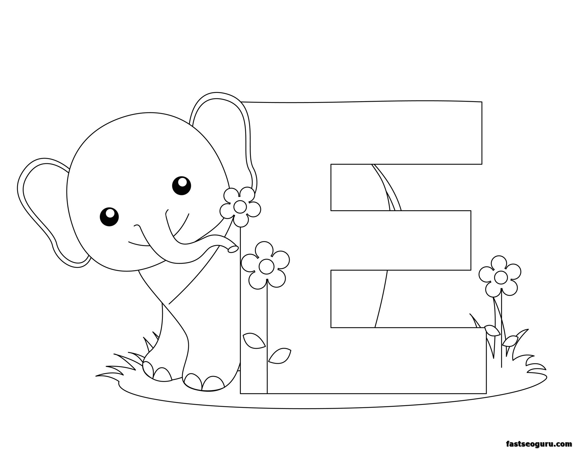 printable alphabet coloring pages animals | Printable Animal Alphabet Letter E for Elephant ...