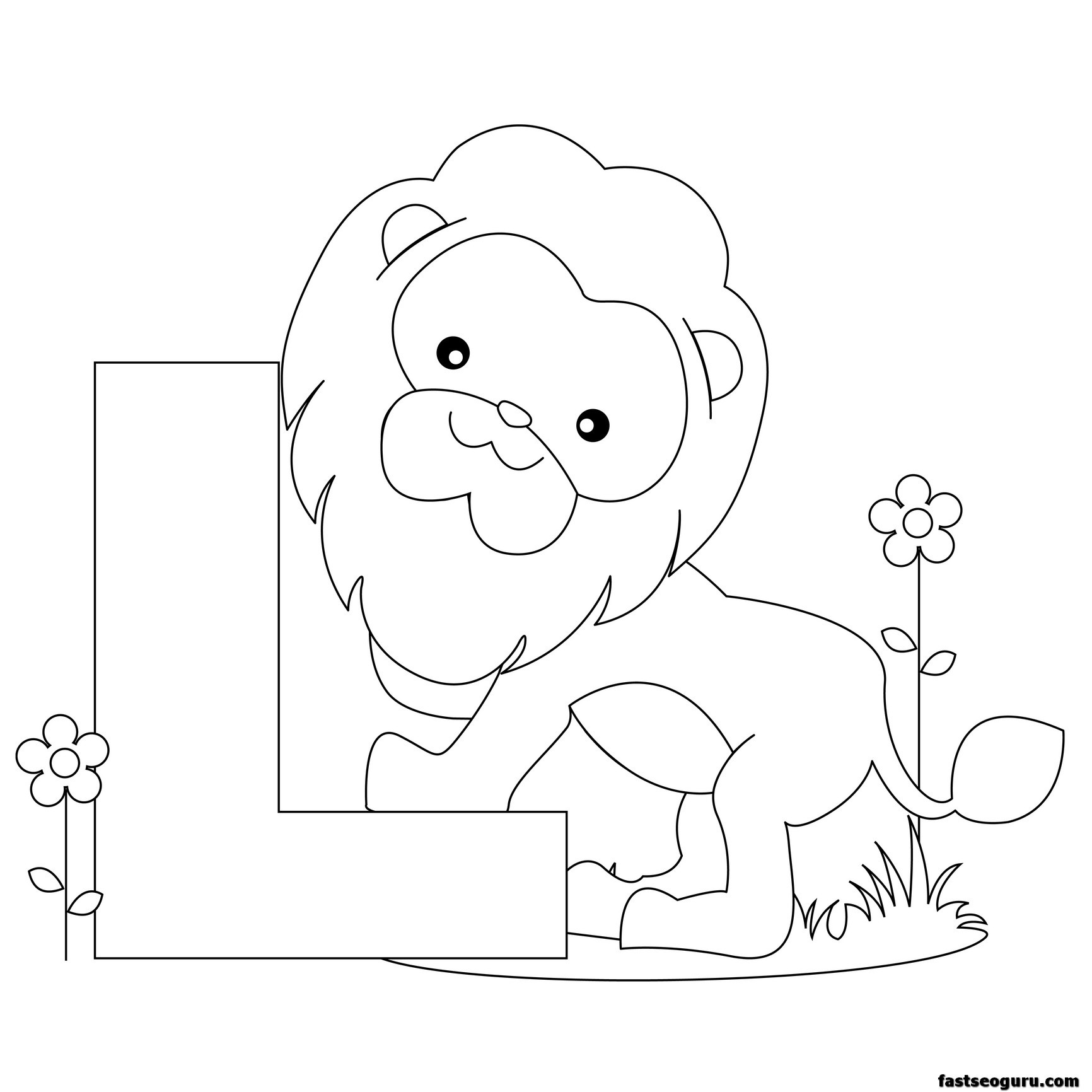 printable alphabet coloring pages animals | Printable Animal Alphabet worksheets Letter L is for Lion ...