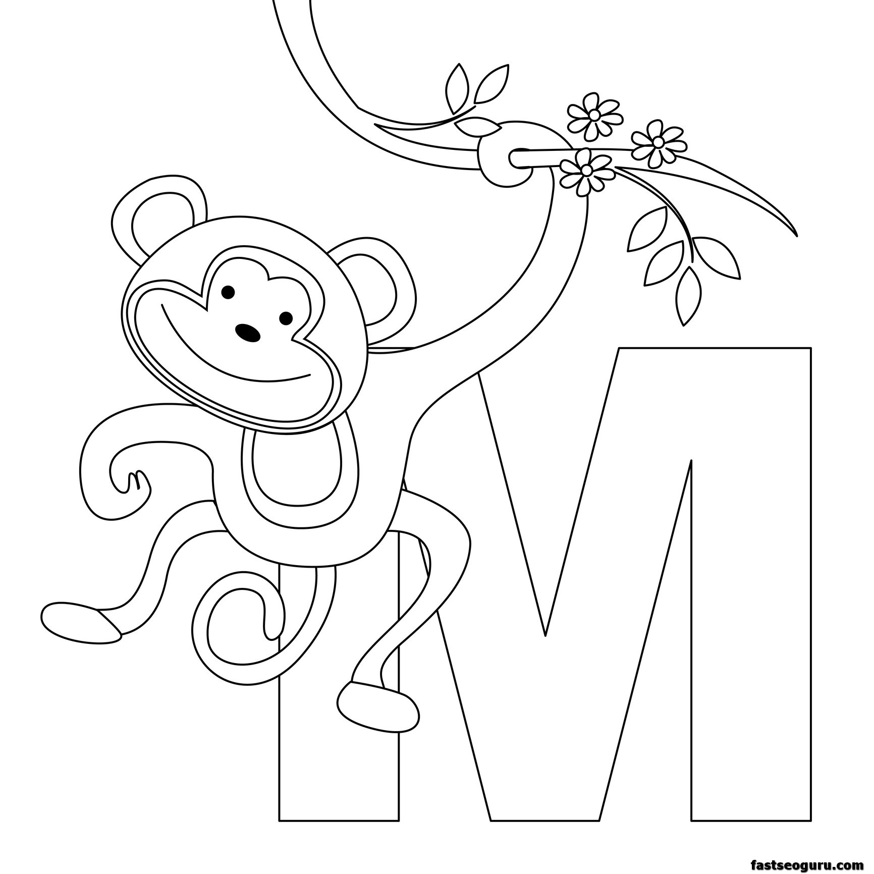 Printable animal alphabet worksheets letter m for monkey for Animal alphabet coloring pages free