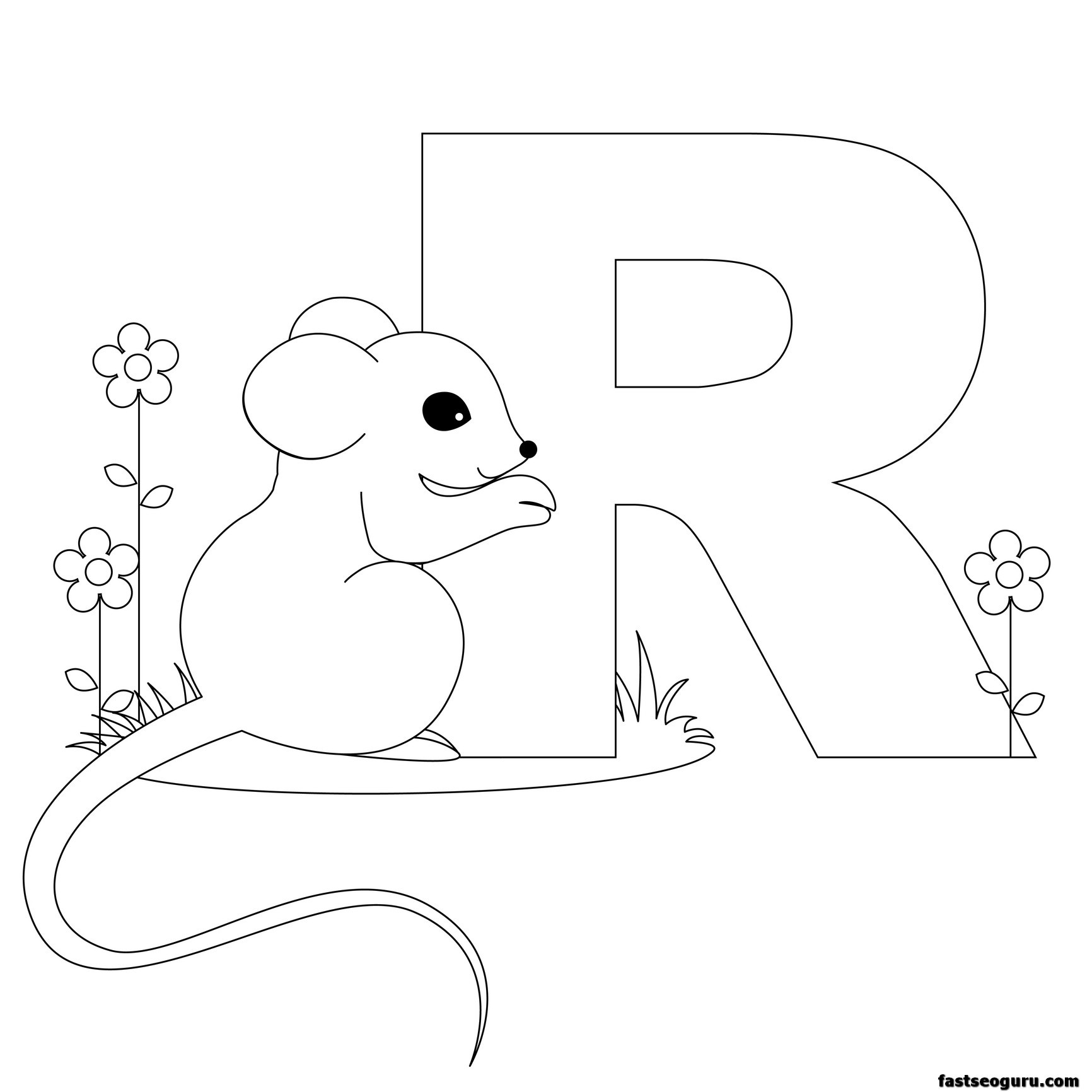 R Coloring Pages : Free alphabet r coloring pages