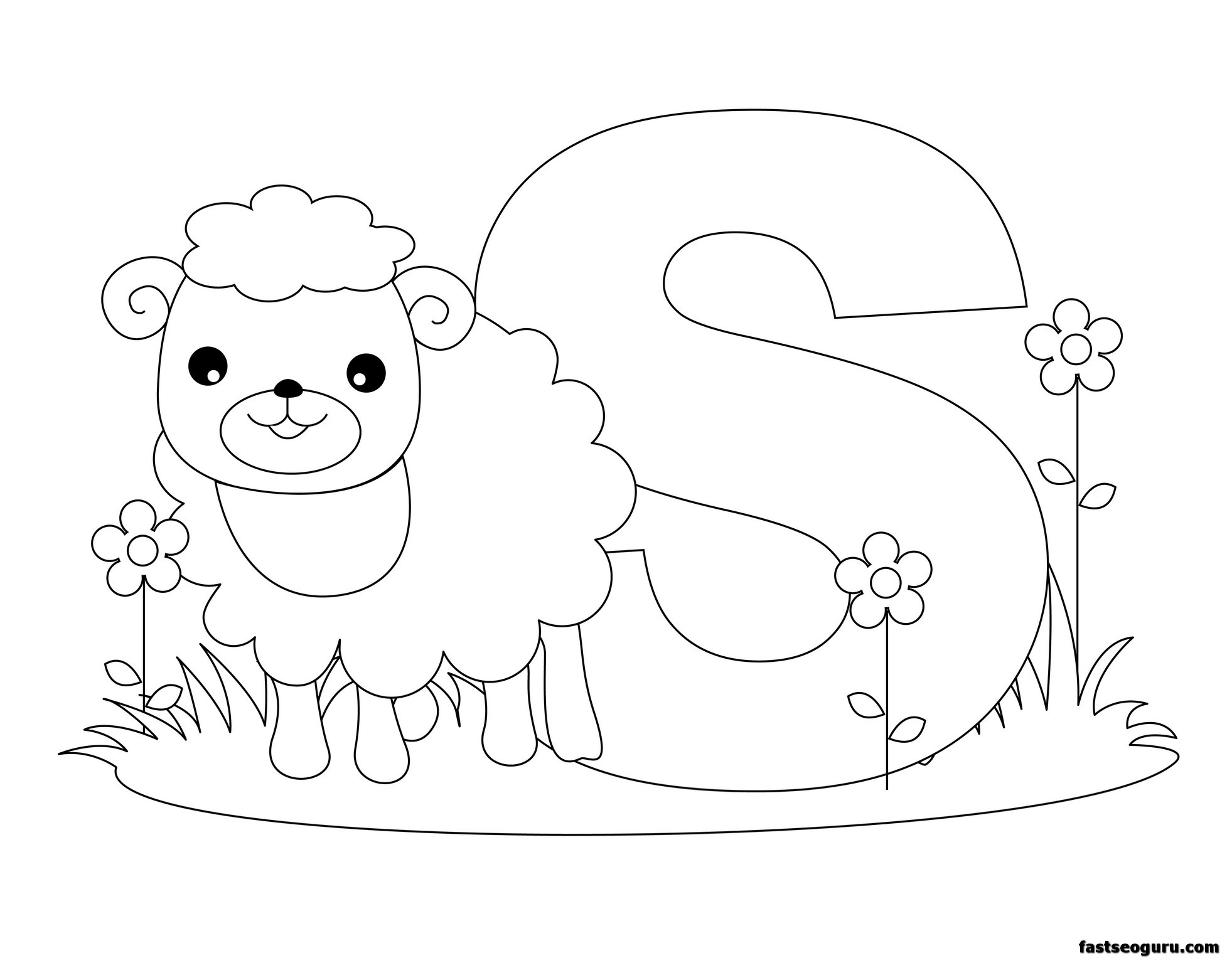 Animal Alphabet Coloring Pages Printable : Free letter s lower case coloring pages