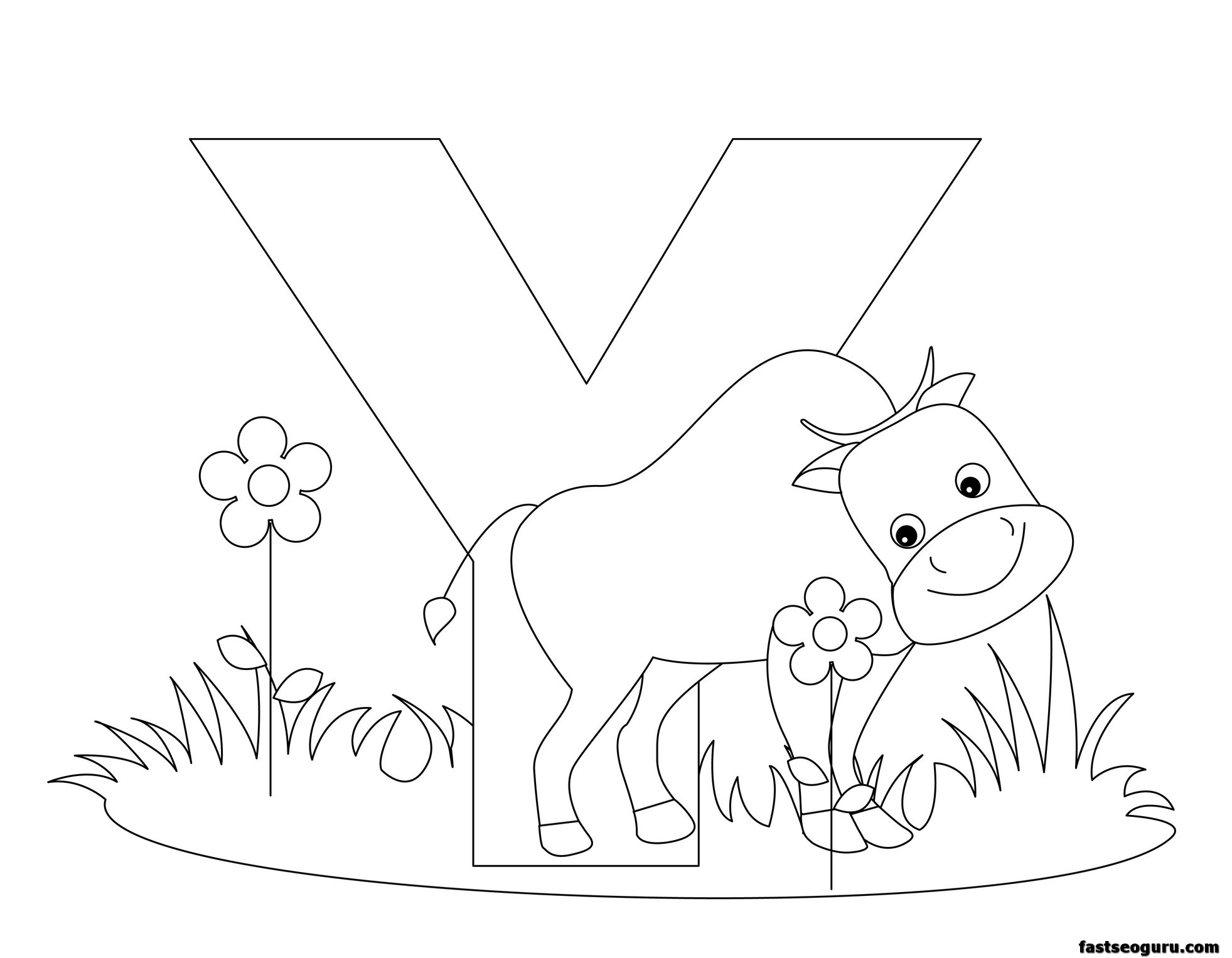 Coloring Pages Yak : Printable animal alphabet worksheets letter y is for yak