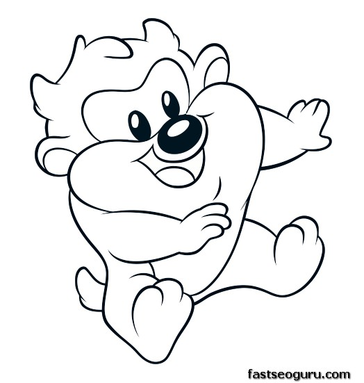 Printable baby looney tunes baby taz coloring in sheets for Baby looney tunes taz coloring pages