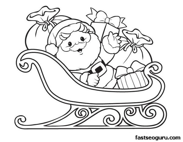 santa sleigh coloring pages - photo#13