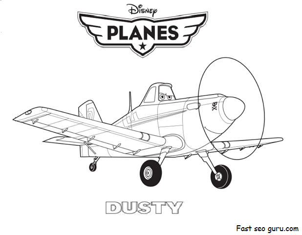 Disney Planes Coloring Pages : Printable disney planes dusty coloring page