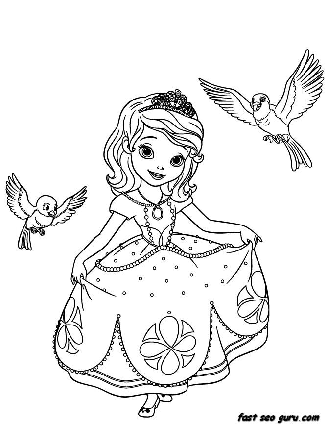 printable disney princesses sofia the first coloring pages printable coloring pages for kids Disney Princess Coloring Pages  Princess Sofia Coloring Book
