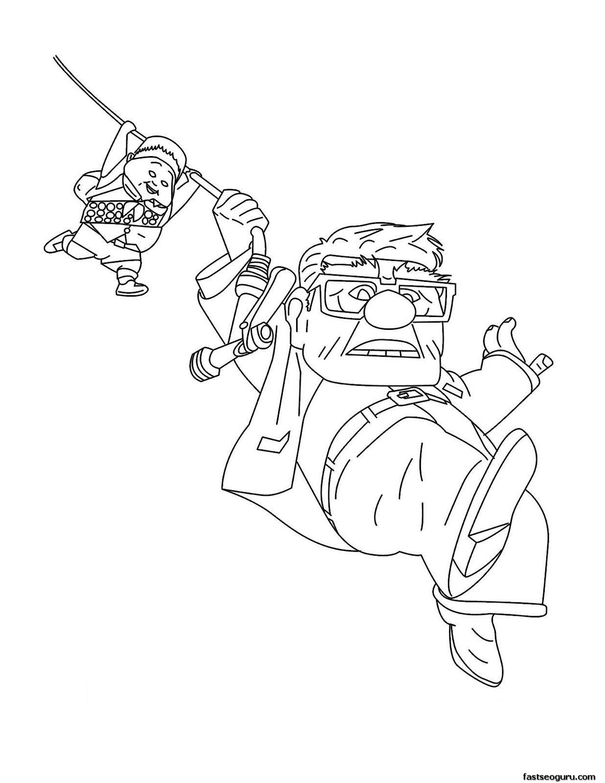 Russell from up coloring pages ~ Printable Disney up Carl Fredricksen,Russell coloring pages
