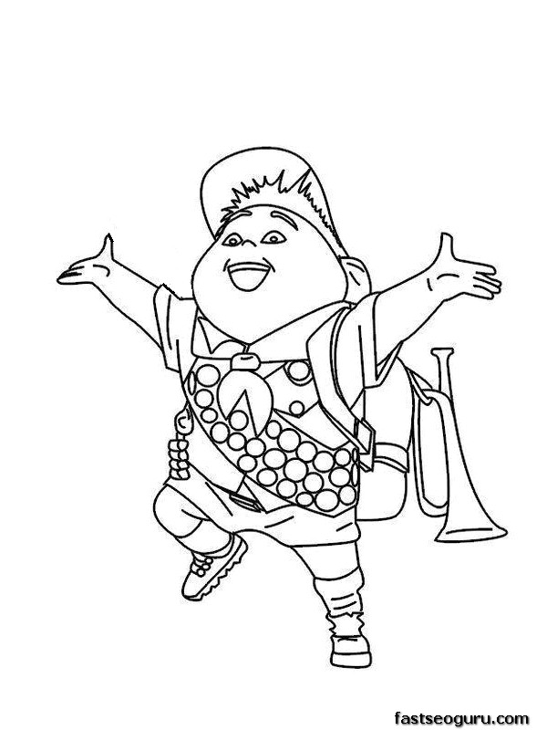 Russell from up coloring pages ~ Printable Disney up the movie happy Russell coloring pages