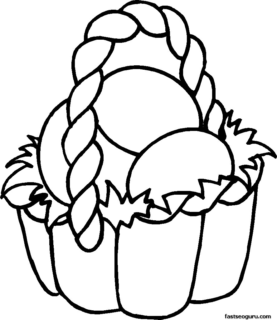 Coloring Pages To Print Easter : Printable easter basket coloring pages for kids