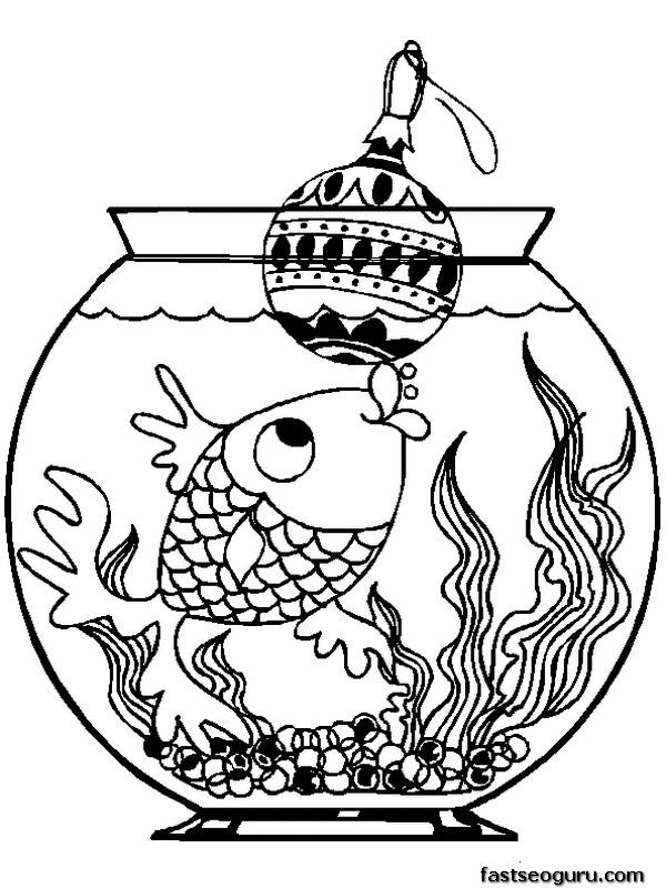 Printable fish with christmas decorations coloring pages for Christmas animal coloring pages