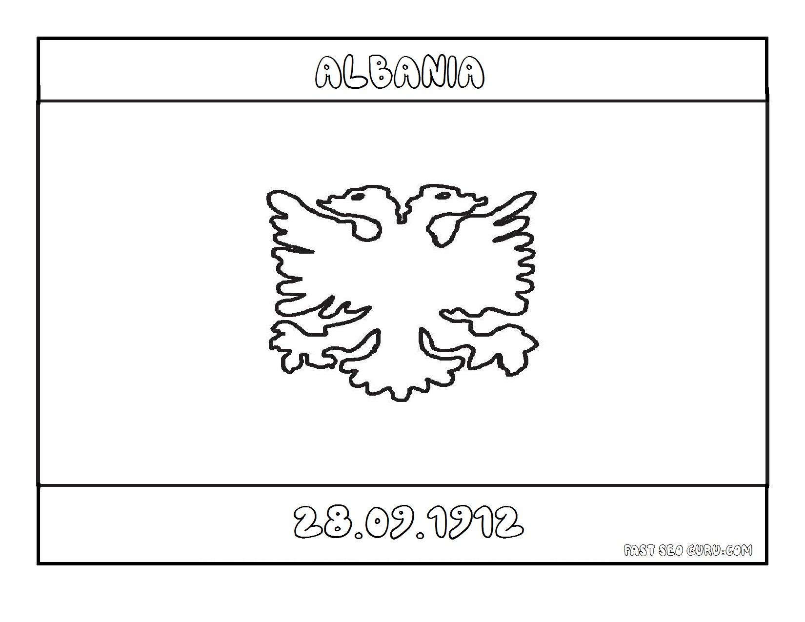Printable Flag of albania coloring