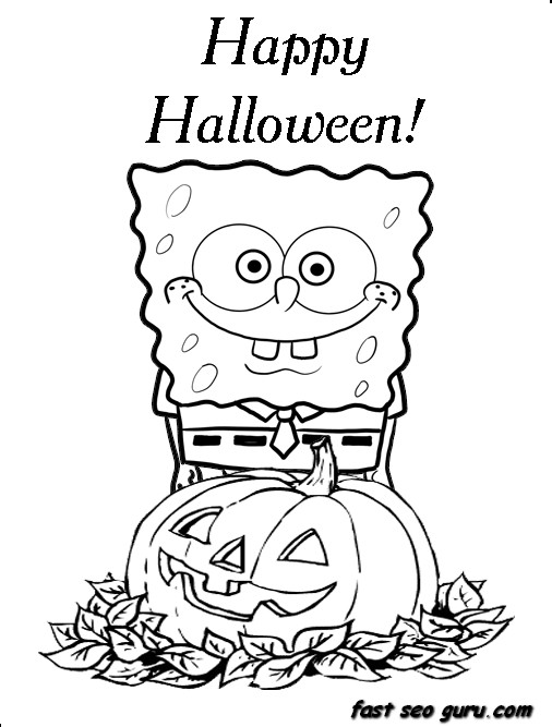 spongebob coloring pages halloween | Printable Happy halloween spongebob coloring in pages