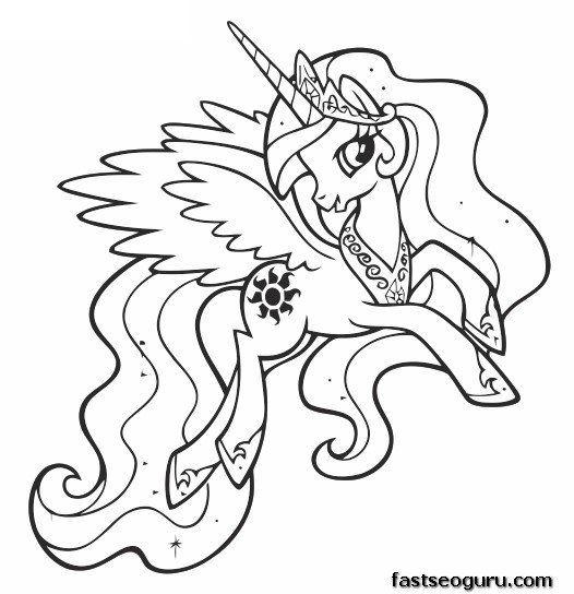 Princess Celestia Coloring Pages Printable For
