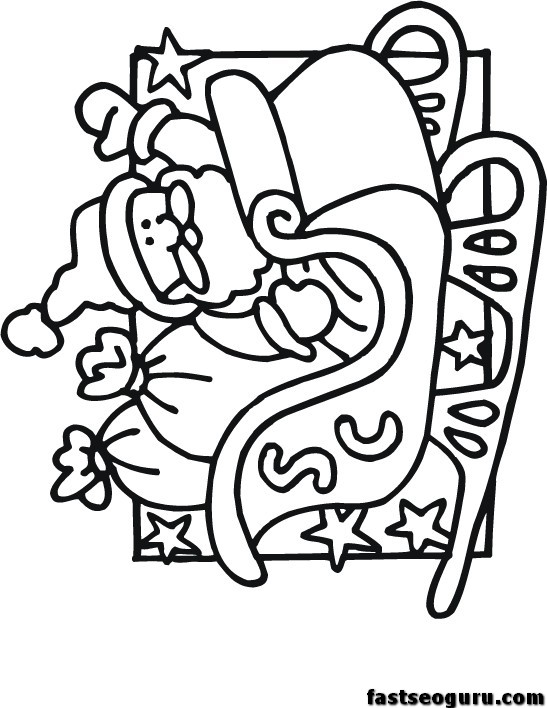printable santa sleigh coloring pages for kids printable
