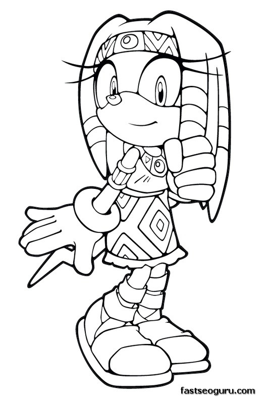 Printable sonic the hedgehog tikal coloring in sheets for Free printable sonic the hedgehog coloring pages