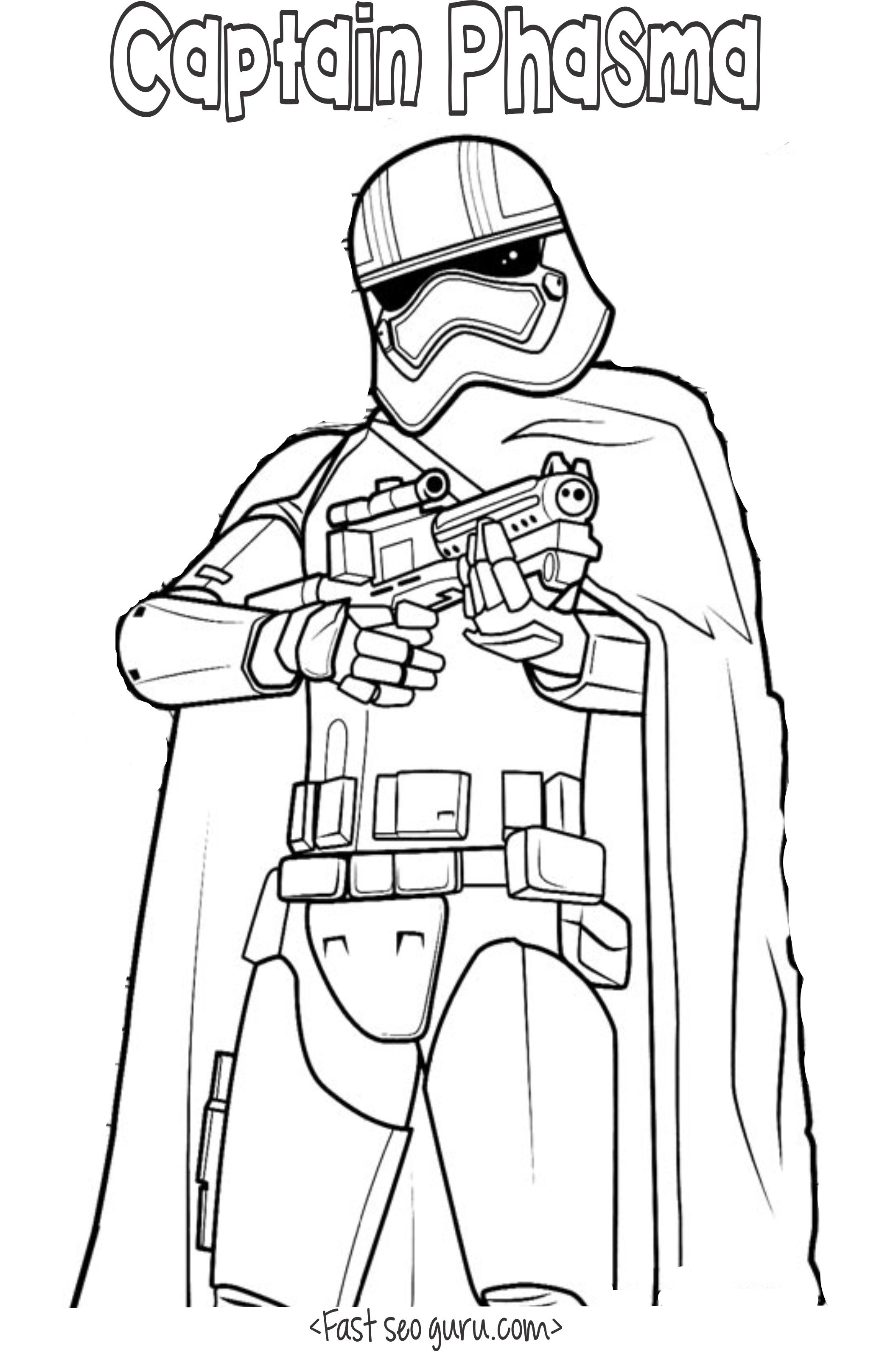 Star Wars 7 Coloring Pictures : Star Wars the force awakens captain phasma coloring pages